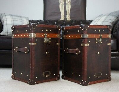 Tall Leather Chests Trunks Handmade in England