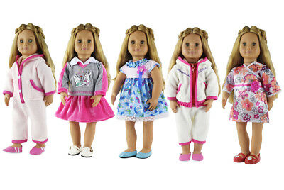 5 Different Set Doll Clothes for 18 inch American Girl Doll Dress Casual Wear