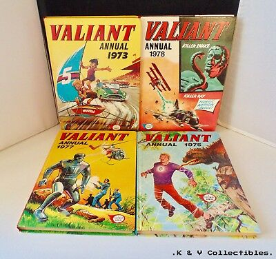 4 x Vintage Valiant annuals (1970's) GC & UNCLIPPED