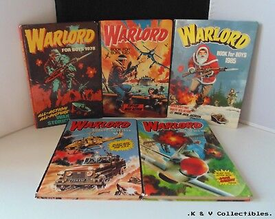 5 x Vintage Warlord Annuals (1980's) GC & UNCLIPPED