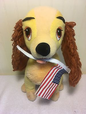 """Disney Plush Lady Dog 13"""" Stuffed Toy Holding American Flag Lady and the Tramp"""