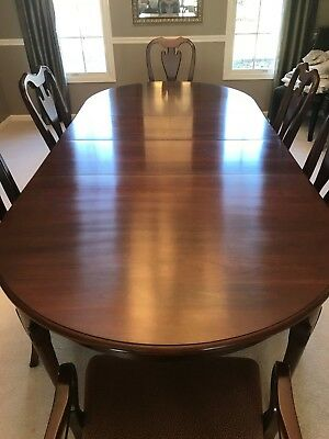 CHERRY DINING ROOM Table with Six Chairs and Hutch by ...
