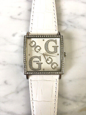 NEW GUESS G85991L Women White Genuine Leather bracelet band Crystal Watch G-Logo