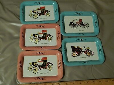 1903 Oldsmobile + 1896 Ford + 1903 Cadillac [LOT of 5] Vtg METAL TRAYS Ltd Promo