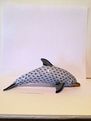 Herend Large Blue Fishnet Dolphin (15395). Buy LG Dolphin getBaby DolphinFREE