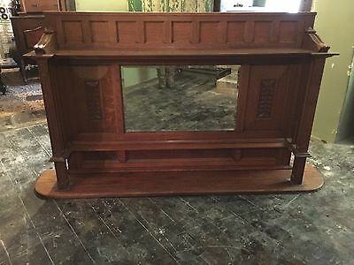 Large Art Nouveau /arts &crafts over fire Oak  Mirror with Carved Panels