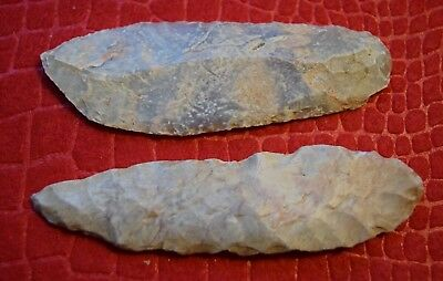 2 Sahara Neolithic knife/blades, thin for 3+inch length, nice