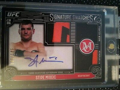 Stipe Miocic AUTO Topps 2016 Signature Swatches UFC MMA #105/149 Panini used