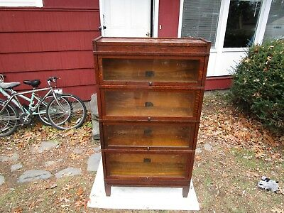 Antique Mission Globe Wernicke All Original Oak C1910 4 Stack Barrister Bookcase