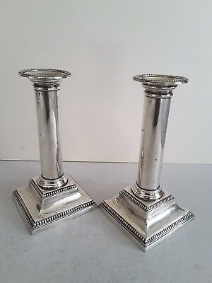 Nice Pr. Antique Solid Silver Bead- Edge Candle-Sticks.  Ht.17.8Cms.  Sheff.1903