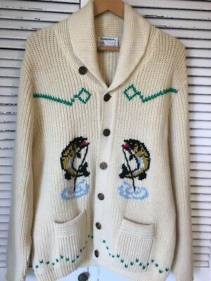 Vintage Tundra 100% Virgin Wool Alaska Fish Motif Cowichan Sweater Canada XL