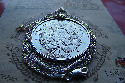 """2003 LORD OF THE RINGS ONE CROWN COIN Pendant on a 30"""" ITALY SILVER WHEAT CHAIN"""