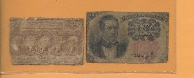 2 Notes For The Price Of One!! (2 Old Fractional Notes )1800's (2 For 1 Money)#2
