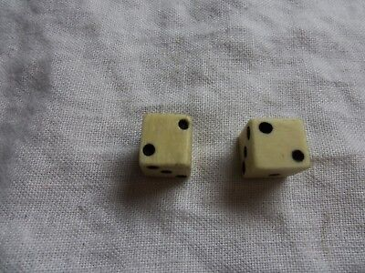 Vintage Antique Pair of 1/2'' Bovine Bone Gambling Dice