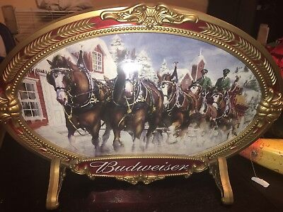 Vintage BUDWEISER Beer Sign CLYDESDALE HORSE stand up bar man cave
