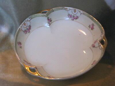 Beautiful Hand Painted NIppon  Gold Trimmed Bowl