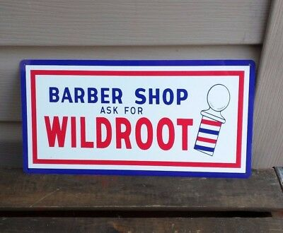 Wildroot Barber shop metal sign vintage image retro Red White Blue 6 x 12 50039