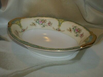 Meito China Cream & Floral Pattern Japan 7 3/4 x 11 inch  Oval Serving Dish