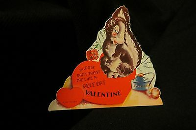 "Vintage SKUNK & Atomizer Valentine card c. 1950s ""POLE CAT"""