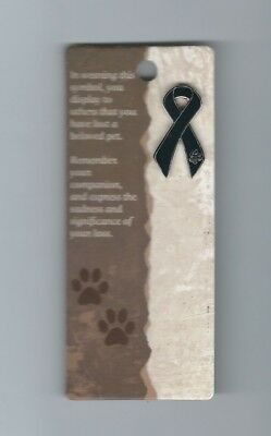 PET LOSS MEMORIAL REMEMBRANCE BLACK RIBBON LAPEL Pin, with DOG PAW PRINT