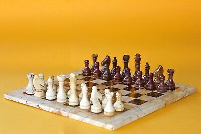 "12"" Chess Set Teak Stone & Red-Brown Marble Hand Made in Velvet/Suede Gift Box"