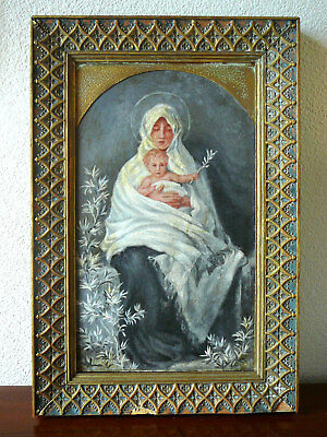 Religious icon, painting on wood, Virgin Mary and Child, 19th century, France