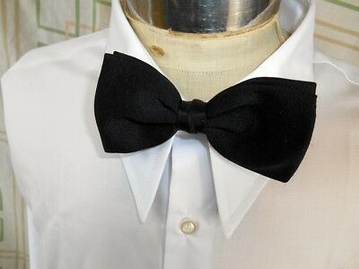 Vintage 1970's Black Polyester Austico Clip On Bow Tie Vegas Prom Tuxedo Formal