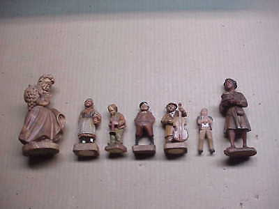 #518 Collection 7 Carved Wood Figures German Grape Girl Cook Potbelly Hornblower