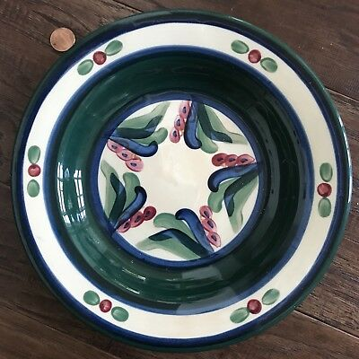 "Gail Pittman Pottery Juniper 9"" Rimmed Pasta Soup Bowl Green Blue Hand Painted"