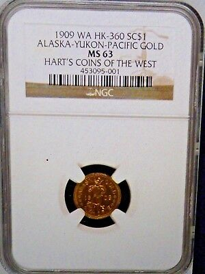 1909 WA HK-360 Alaska Gold HART'S COINS OF THE WEST SC $1 NGC MS 63