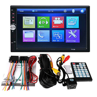 7'' HD 2 DIN FM/MP5/MP3/USB/AUX Bluetooth Car TFT Screen Stereo Radio+ Camera