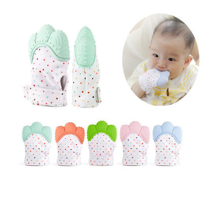 Silicone Baby Mitt Teething Mitten Teething Glove Candy Wrapper Sound Teether EA