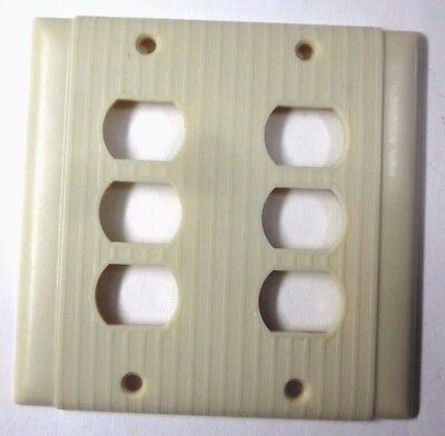 Vintage Uniline Deco Ribbed Beige Bakelite Despard 6 Switch 2 Gang Cover Plate