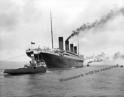 Photograph of the Steamship RMS Titanic Leaving Belfast April 2, 1912  8x10