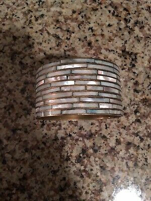 Vintage Inlaid Mother of Pearl and Brass Bangle Bracelet 1 1/2 Inch NR