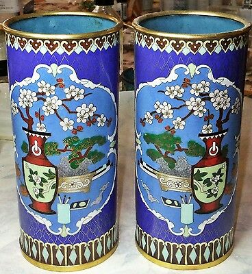 Pair of  Antique cloisonne vases / brush pots early  People's Republic of China.