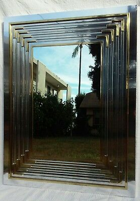 Large Vintage Mid Century 70's Modern Lucite and Mixed Metals Mirror