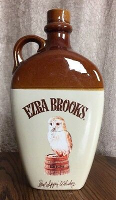 Vintage Ezra Brooks Empty Whiskey Flat Stoneware Jug Heritage China