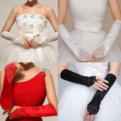 Lady Bridal Party Fingerless Pearl Satin Long Evening Prom Wedding Gloves