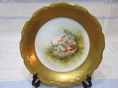 "Very fine Limoges B & H cabinet gilded plate 8,75"" diam. Hand enhenced."