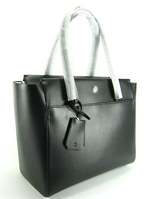 NWT Tory Burch Parker Large Leather Tote Handbag in Black $298 AUTH