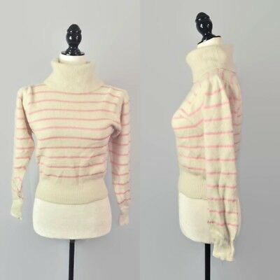VTG 80s Knit Angora Wool Crop Pastel Striped Sweater Turtleneck Pullover Small