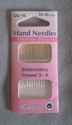 Embroidery Crewel hand needles in packs of 16 made in India