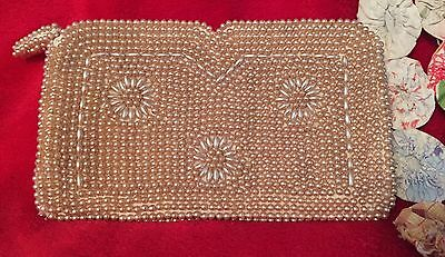 Vintage Faux Pearl Beaded Clutch Floral Design Off White