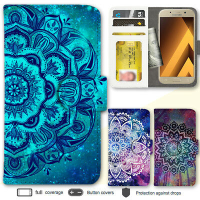 For Samsung Galaxy A5 A7 2017 Case Mandala IV Pattern Print Wallet Leather Cover