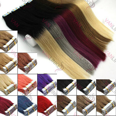 20PCS EXTENSION TAPE BANDE ADHESIVE CHEVEUX 100% NATURELS INDIAN REMY Ombre HAIR