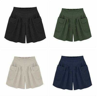AU Women Short Pants Plus Size Lady Casual Beach Shorts High Waist Loose Shorts