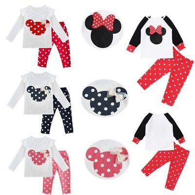 2pcs Kid Baby Girls Minnie Mouse Bow T-shirt+Pants Clothes Set Outfit For 9M-3T