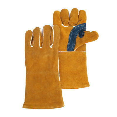1 Pairs Heavy Duty Yellow Welding Gloves Gauntlets Welders Soft Leather Gloves