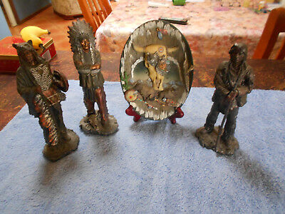 American Indian Figurines: Chief - Medicine Man - Warrior + Plaque On Stand